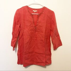Eileen Fisher Coral Linen Tunic with Beaded V Neck